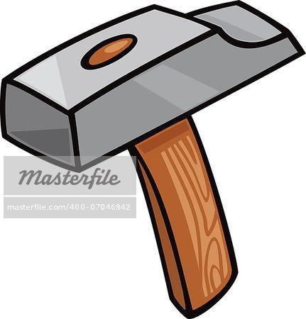 Cartoon Illustration of Hammer Tool Clip Art