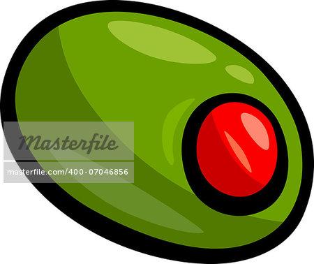 Cartoon Illustration of Green Olive Clip Art