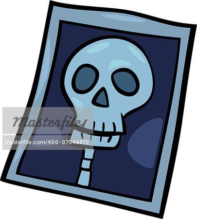 Cartoon Illustration of X-ray Photo of Human Head Clip Art
