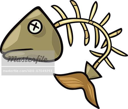 Cartoon Illustration of Fishbone or Fish Skeleton Clip Art