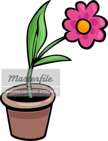 Cartoon Illustration of Flower in a Pot Clip Art