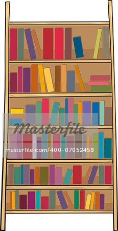 Cartoon Illustration of Book Shelf or Bookcase Clip Art