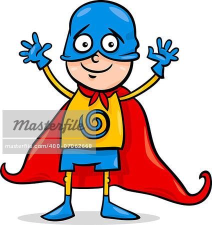 Cartoon Illustration of Cute Little Boy in Superhero Costume for Fancy Ball