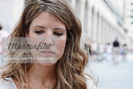 Young Woman at Outdoor Cafe, Zaragoza, Aragon, Spain