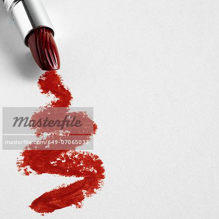 Lipstick zigzag on white background