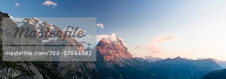 Part of Wetterhorn and Eiger Peak at Sunset, Grosse Scheidegg, Bernese Alps, Switzerland