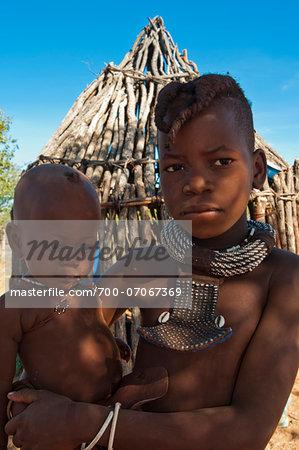 Portrait of Himba boys, Kaokoveld, Namibia, Africa
