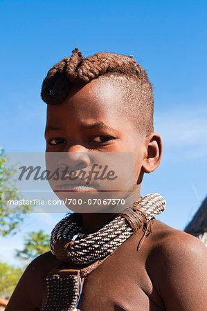 Portrait of Himba boy, Kaokoveld, Namibia, Africa