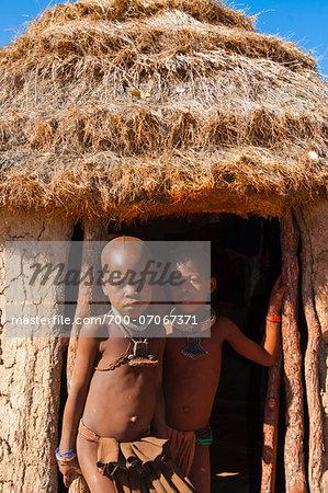 Portrait of Himba children, Kaokoveld, Namibia, Africa