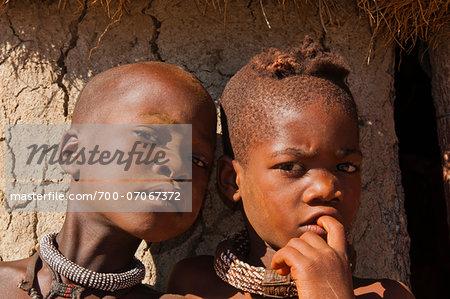 Close-up portrait of Himba children, Kaokoveld, Namibia, Africa