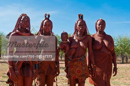 Portrait of Himba women, Kaokoveld, Namibia, Africa,