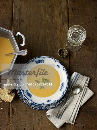 Overhead View of Split Pea Soup, Studio Shot