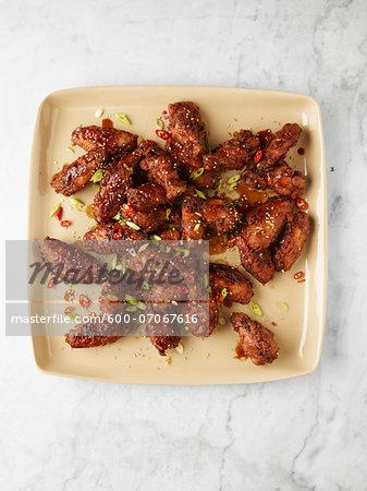 Overhead View of Chicken Wings, Studio Shot