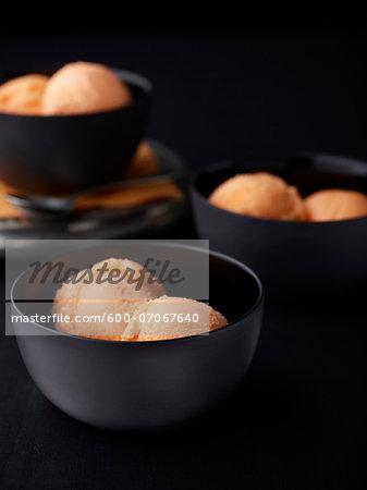 Bowls of Orange Sorbet, Studio Shot