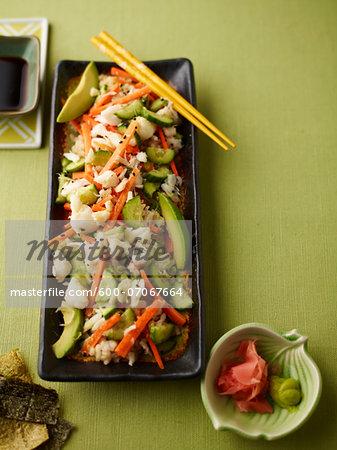 Overhead View of Sushi Salad, Studio Shot