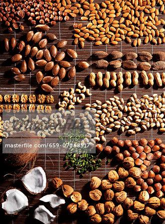 Assorted nuts on a brown raffia mat