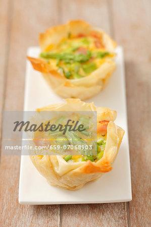 Mini Filo pastry quiches with asparagus