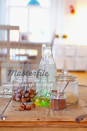Ingredients for chocolate & hazelnut spread: hazelnuts, olive oil, cocoa powder, brown sugar and milk