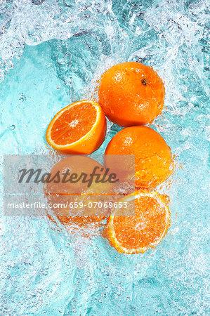 Oranges in water