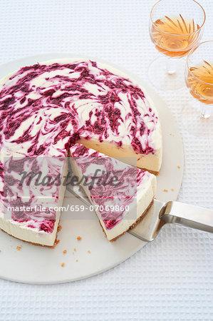 White chocolate layer cake with berries