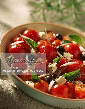Cherry tomato,feta and basil salad