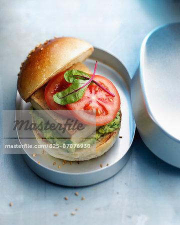 Tofu and guacamole burger