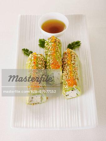 Tofu,leek,salmon roe and sesame seed rolls