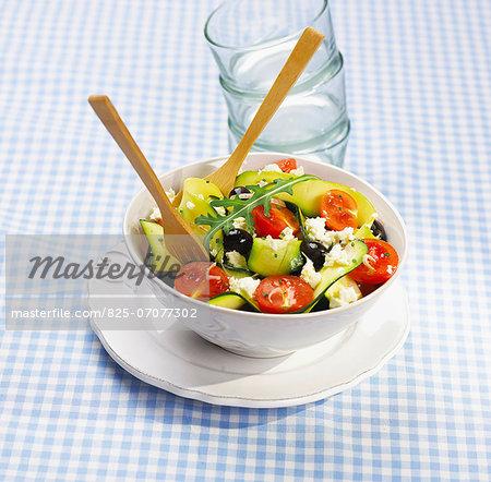 Zucchini,tomato,olive and feta salad