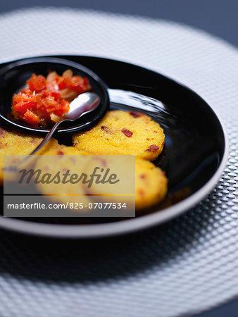 Golden polenta galettes,red pepper salsa
