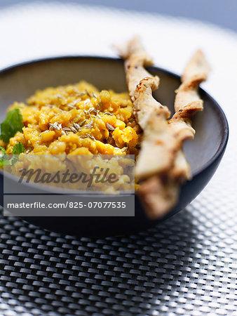Spicy orange lentils ,quinoa twisted bread sticks