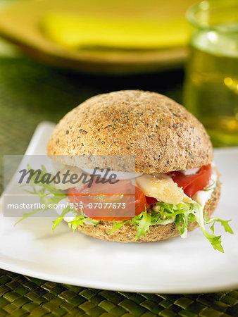 Tomato,lettuce and asparagus sandwich