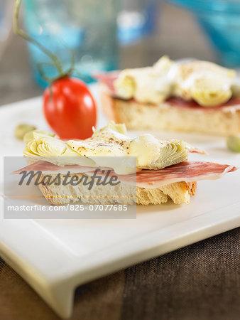 Spanish ham,artichoke,cream cheese and aïoli canapé