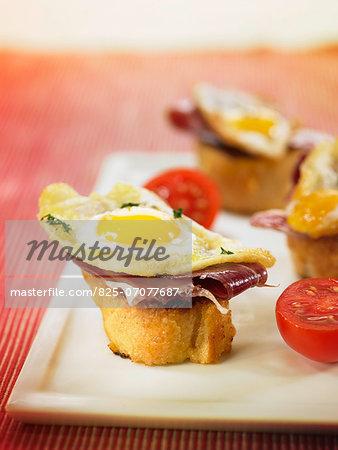 Spanish ham,fried quail's egg and tomato crostini