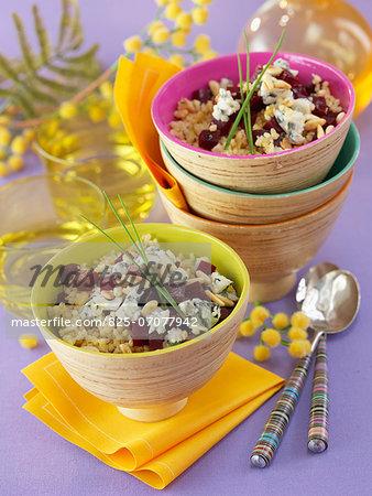 Bulghur,beetroot,roquefort and pine nut salad