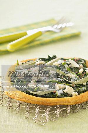 Spinach,mozzarella and sage savoury tart