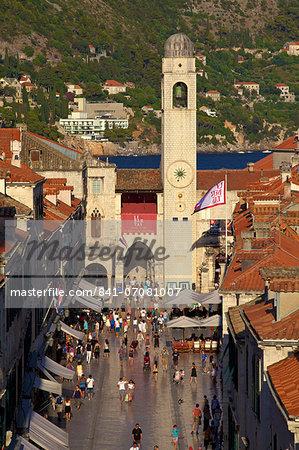 Clock Tower and Stradun, Old City, UNESCO World Heritage Site, Dubrovnik, Croatia, Europe