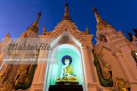 Temple at Shwedagon Paya (Pagoda) floodlit at night, Yangon (Rangoon), Myanmar (Burma), Asia
