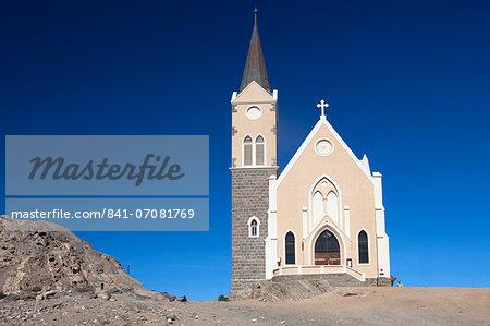 Felsenkirche, church in the coastal town of Luderitz, Namibia, Africa