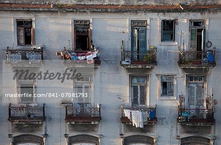 Balconies of a dilapidated apartment building, Havana Centro, Cuba