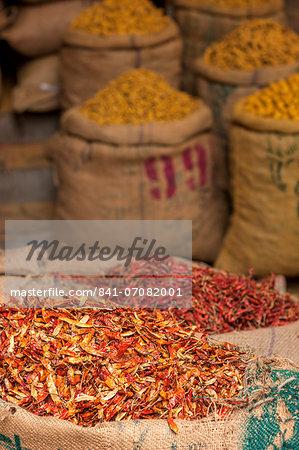 Sacks of chillies in a market, Delhi, India, Asia