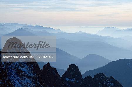 Mountain silhouette, Aiguilles Rouges, Chamonix, Haute-Savoie, French Alps, France, Europe