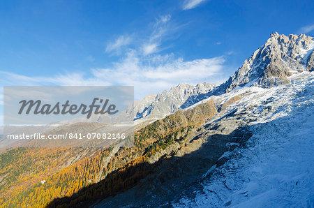 Autumn colours in Chamonix Valley, Chamonix, Haute-Savoie, French Alps, France, Europe