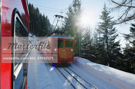 Montenvers glacier express, Chamonix, Haute-Savoie, French Alps, France, Europe