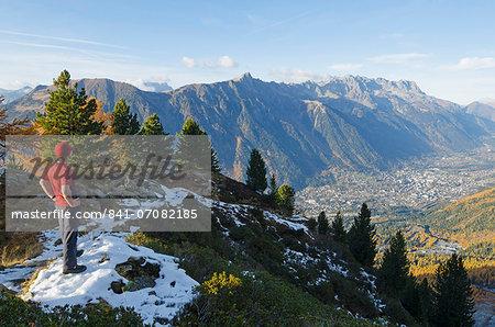 Autumn colours in the Chamonix Valley, Chamonix, Haute-Savoie, French Alps, France, Europe