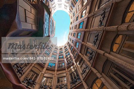 Interior fish eye view of La Pedrera (Casa Mila), an apartment block designed by Antonio Gaudi, UNESCO World Heritage Site, Passeig de Gracia, Barcelona, Catalunya, Spain, Europe