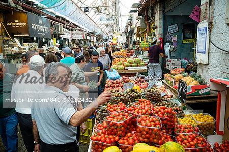 Fruit and vegetables stalls at Mahane Yehuda market, Jerusalem, Israel, Middle East