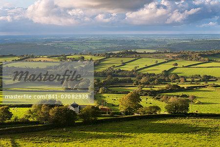 Rolling Dartmoor countryside, Brentor, Devon, England, United Kingdom, Europe