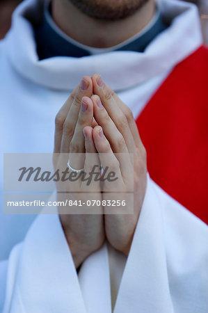 Catholic priest's hands, Paris, France, Europe