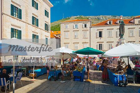 Gundulic Square Market, Old Town, Dubrovnik, Dalmatia, Croatia, Europe