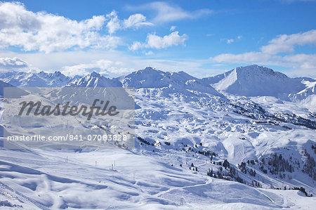 View of slopes near Belle Plagne, La Plagne, Savoie, French Alps, France, Europe